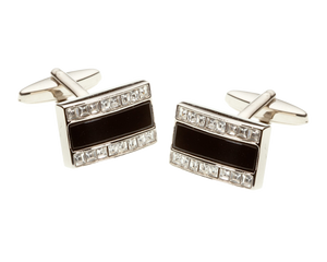 Rectangle Onyx and Crystal Cufflinks