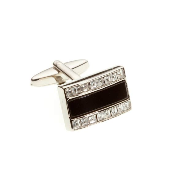 Rectangle Black Onyx & Crystal Semi Precious Stone Cufflinks - by Elizabeth Parker England