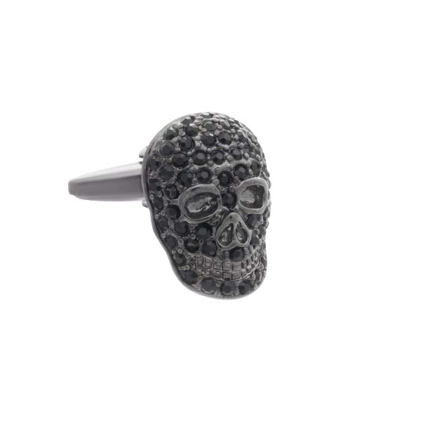 Mad & Bad Black Crystal Skull Cufflinks
