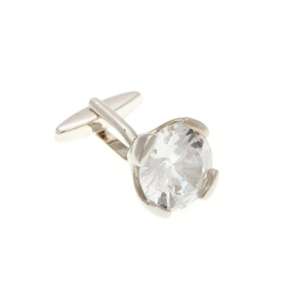Headlight Crystal Clear Plain Metal Crystal Cufflinks - by Elizabeth Parker England