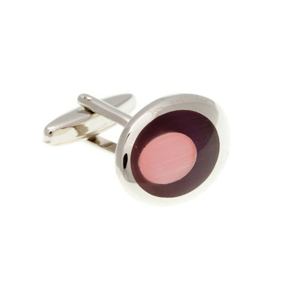 Purple and Pink Oval Eye Cufflinks by Elizabeth Parker England