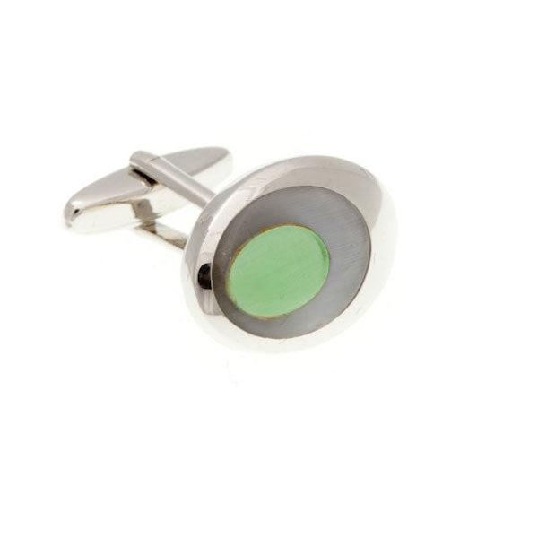 Grey and Green Oval Eye Cufflinks by Elizabeth Parker England