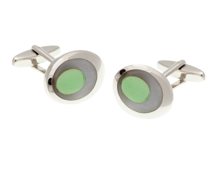 Grey Green Oval Eye Cufflinks