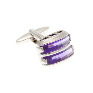 Purple Crystal Double Stripe Plain Metal Crystal Cufflinks - by Elizabeth Parker England
