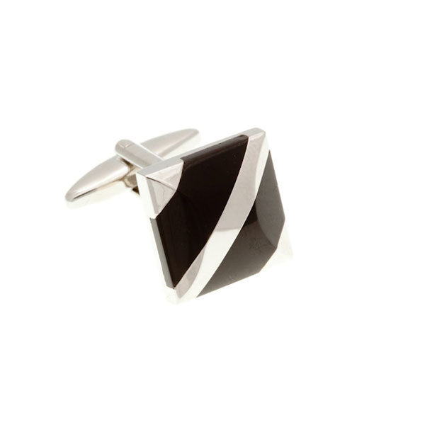 Covered Corners Black Onyx Semi Precious Stone Cufflinks by Elizabeth Parker England