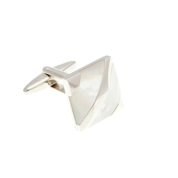 Covered Corners Mother Of Pearl Semi Precious Stone Cufflinks by Elizabeth Parker Englan