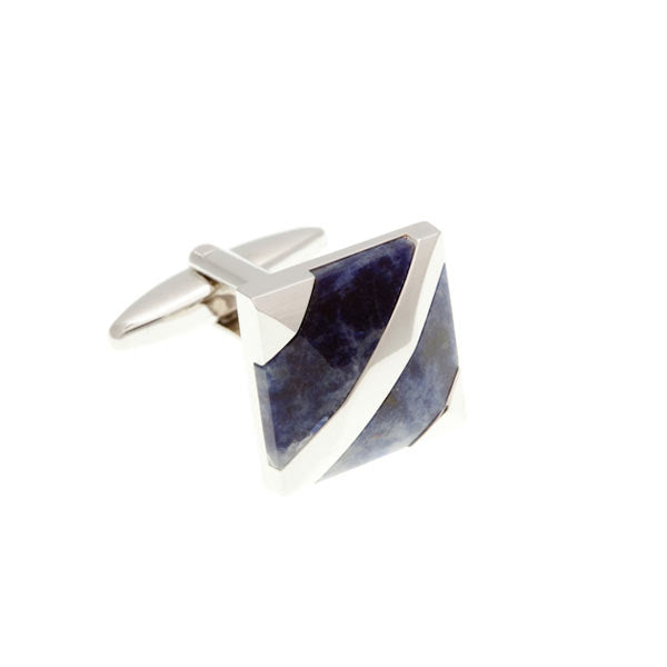 Covered Corners Sodalite Blue Cufflinks by Elizabeth Parker