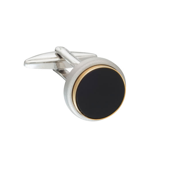 The Classic Black Onyx Round Cufflinks By Elizabeth Parker