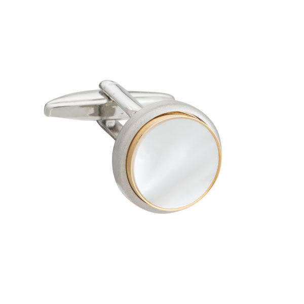 The Classic Mother of Pearl Round Cufflinks by Elizabeth Parker