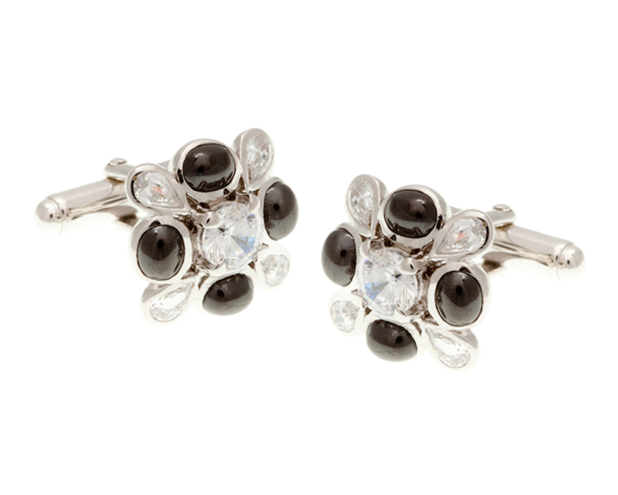 Clear Black Crystal Teardrops Cufflinks