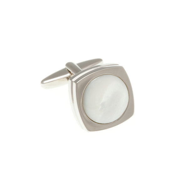 Round Rimmed Mother Of Pearl Fibre Optic Cufflinks by Elizabeth Parker England