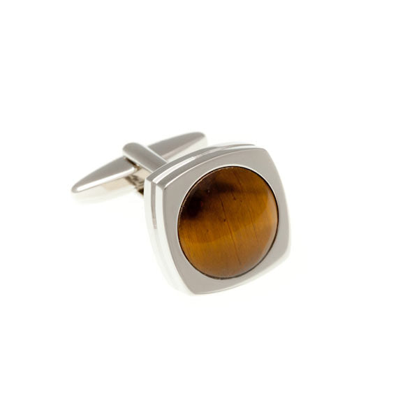 Round Rimmed Tiger Eye Fibre Optic Cufflinks by Elizabeth Parker England