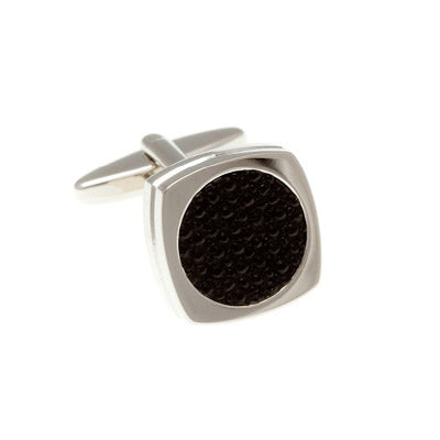 Round Rimmed Stingray Black Fibre Optic Cufflinks - by Elizabeth Parker England