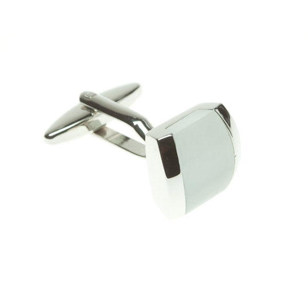 White Square Pudding Cufflinks by Elizabeth Parker England