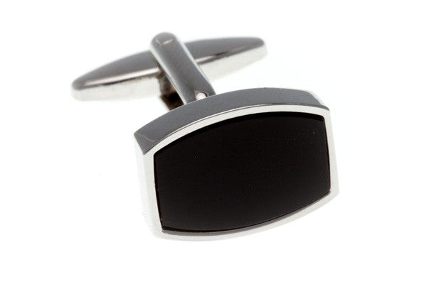 Black Onyx Curved Oblong Semi Precious Stone Cufflinks