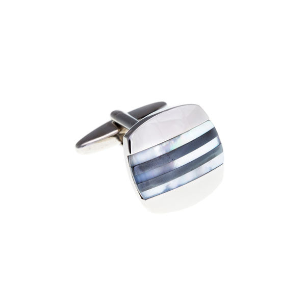 Mother Of Pearl Hematite Grey Stripe Panel Cufflink Semi Precious Stone Cufflinks - by Elizabeth Parker England