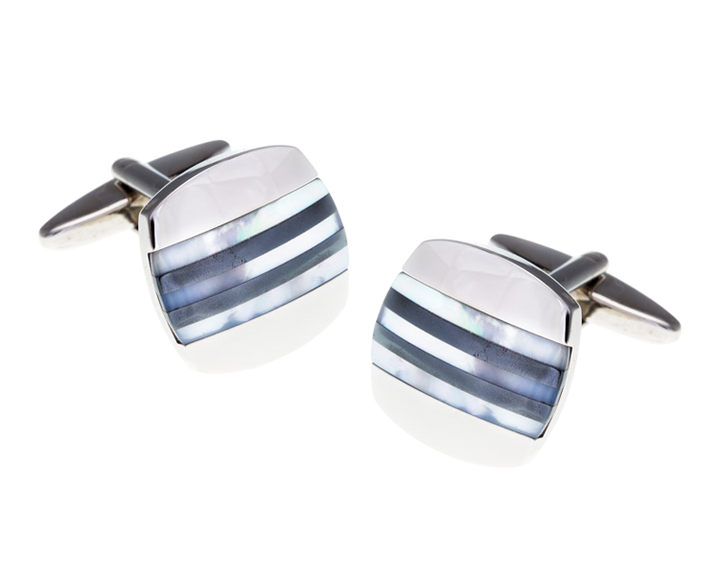 Mother Of Pearl Hematite Striped Cufflinks