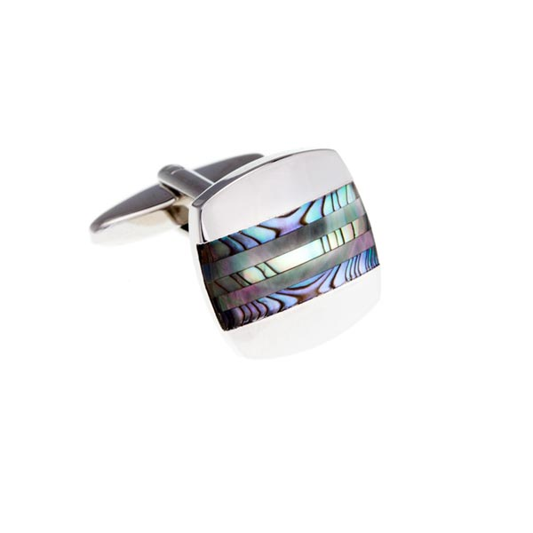 Abalone Turquoise and Smoky Mother Of Pearl Striped Cufflinks