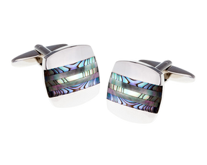 Abalone Turquoise Smoky Mother Of Pearl Striped Cufflinks