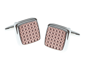 Square Rose Gold Plated Sunrise Pink Cufflinks