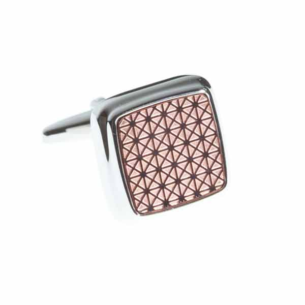 Square Cufflinks with Rose Gold geometric patterned centre by Elizabeth Parker England