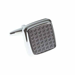 Repeating Oval Pattern Soft Square Gun Metal Cufflinks by Elizabeth Parker