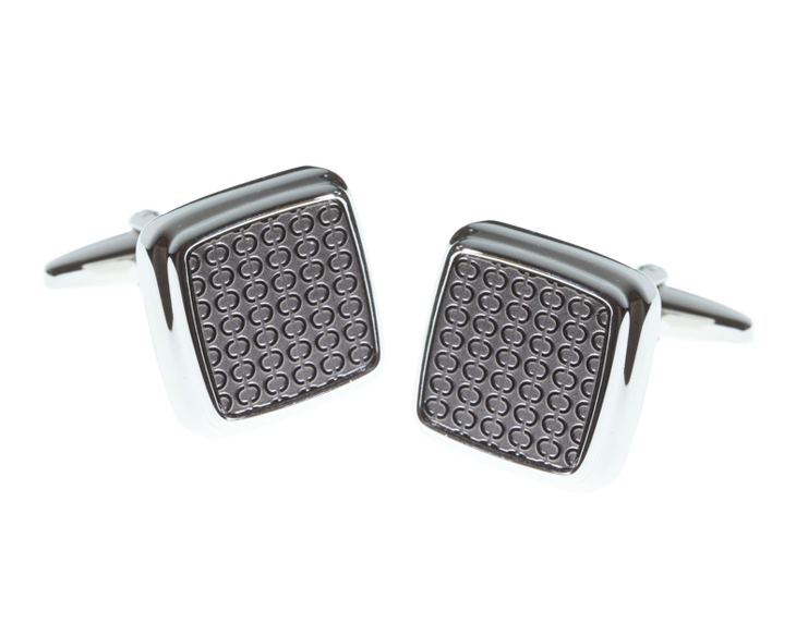 Repeating Oval Soft Square Gunmetal Cufflinks