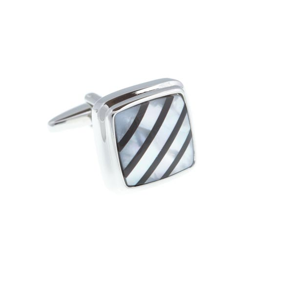 Square Black Onyx On Mother Of Pearl Stone Cufflinks by Elizabeth Parker