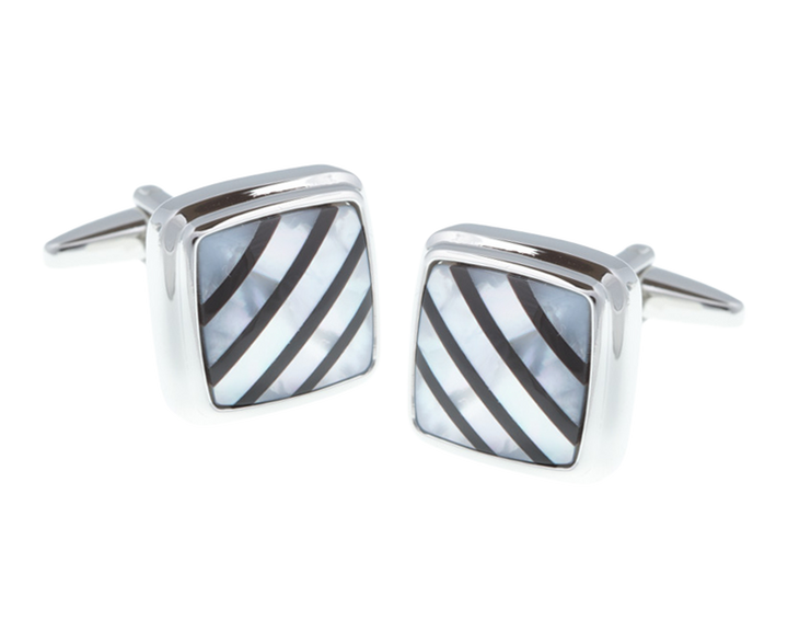 Square Onyx Mother Of Pearl Stone Cufflinks
