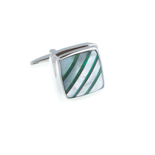 Square Malachite Stripes On Mother Of Pearl Stone Cufflinks by Elizabeth Parker