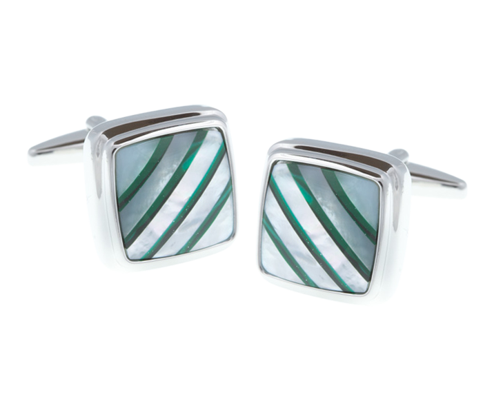 Square Malachite Stripes Mother Of Pearl Stone Cufflinks