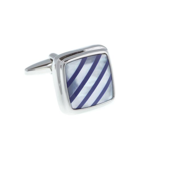 Square Lapis Blue Quartz Stripes On Mother Of Pearl Stone Cufflinks by Elizabeth Parker