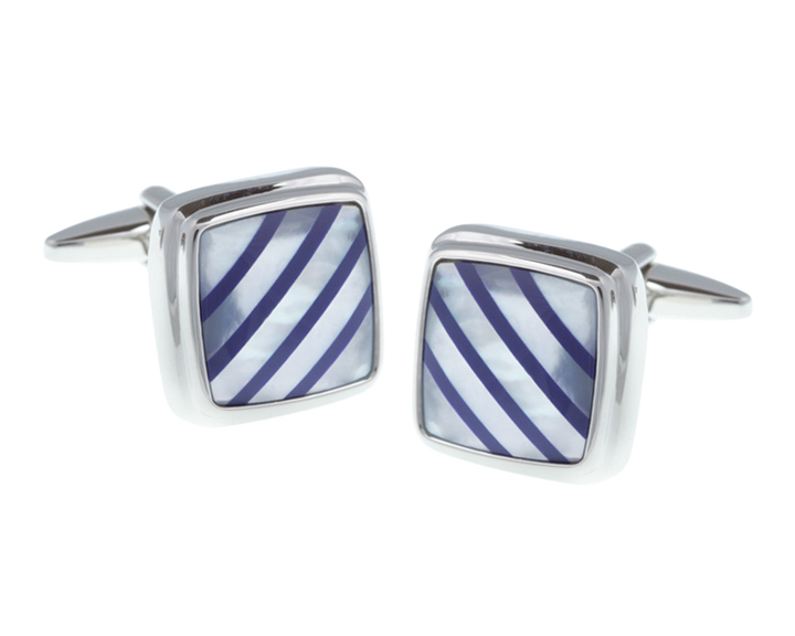 Square Lapis Blue Quartz Stripes Mother Of Pearl Stone Cufflinks