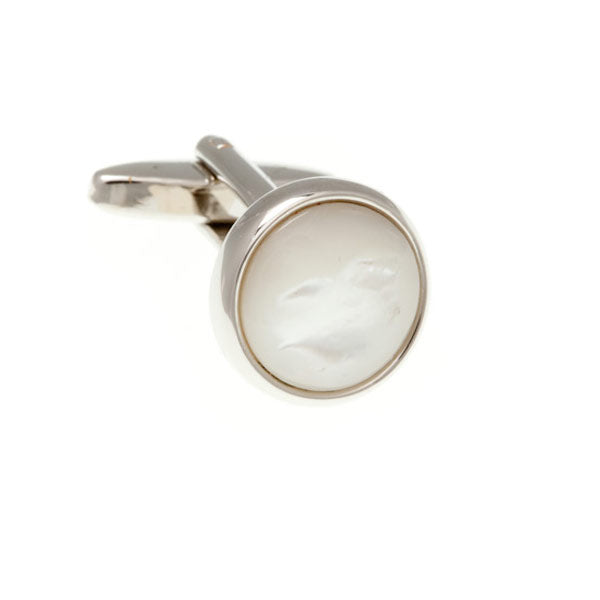Round Cabochon Mother Of Pearl Semi Precious Stone Cufflinks by Elizabeth Parker England