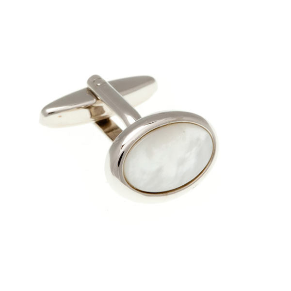 Oval Cabochon Mother Of Pearl Semi Precious Stone Cufflinks by Elizabeth Parker England