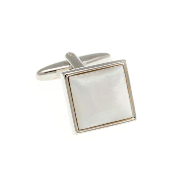 Square Cabochon Mother Of Pearl Semi Precious Stone Cufflinks by Elizabeth Parker England