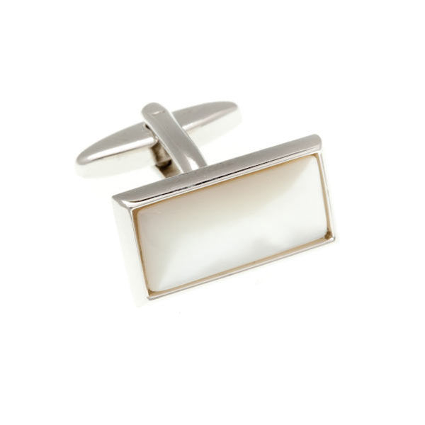 Oblong Cabochon Mother Of Pearl Semi Precious Stone Cufflinks by Elizabeth Parker England