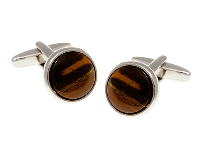 Round Tiger Eye Cufflinks