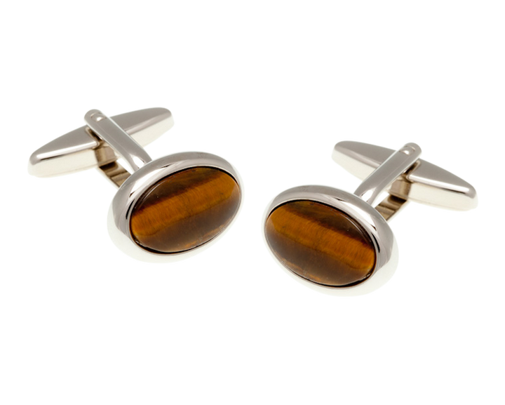 Oval Tiger Eye Stone Cufflinks