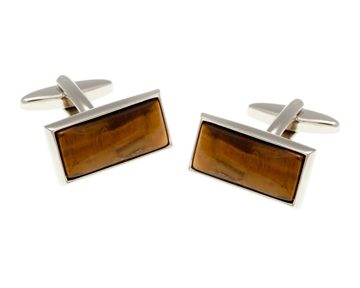 Oblong Tiger Eye Stone Cufflinks