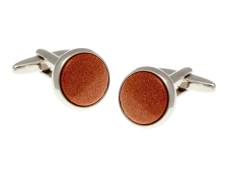 Round Brown Goldstone Cufflinks