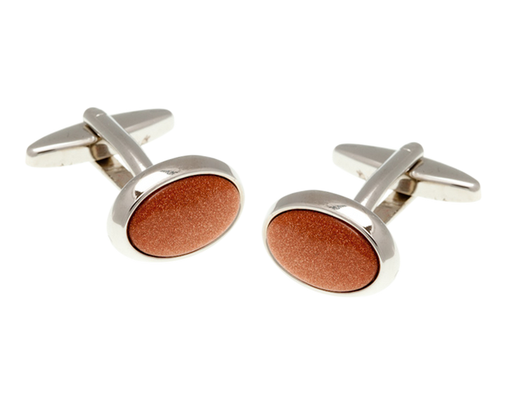 Oval Brown Goldstone Cufflinks