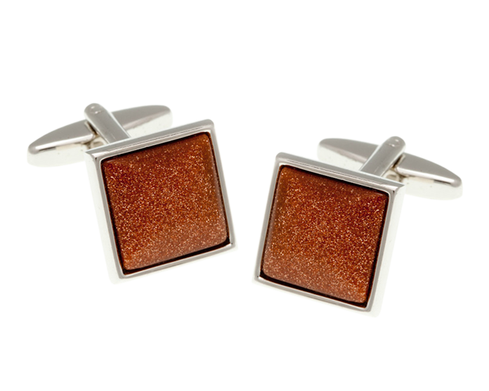 Square Brown Goldstone Cufflinks