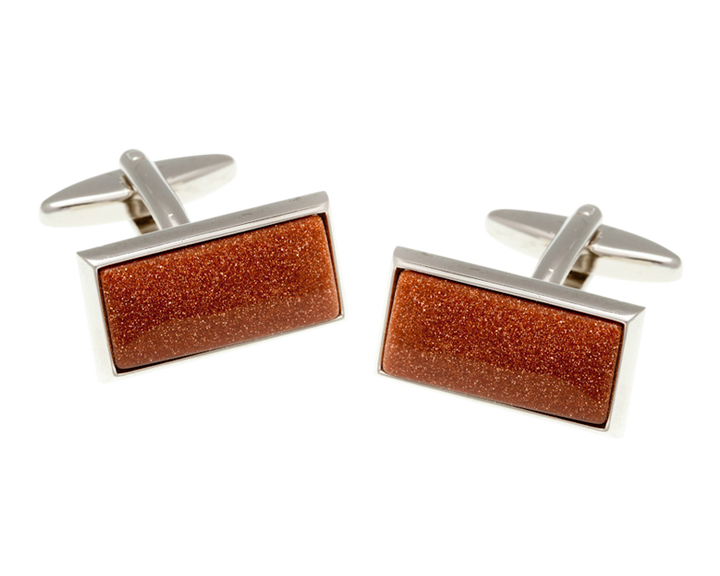 Oblong Brown Goldstone Cufflinks