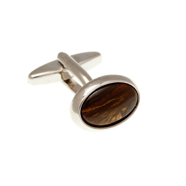 Oval Red Brown Steel Cabochon Tiger Iron Semi Precious Stone Cufflinks by Elizabeth Parker England