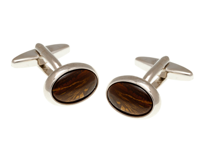 Oval Tiger Iron Cufflinks