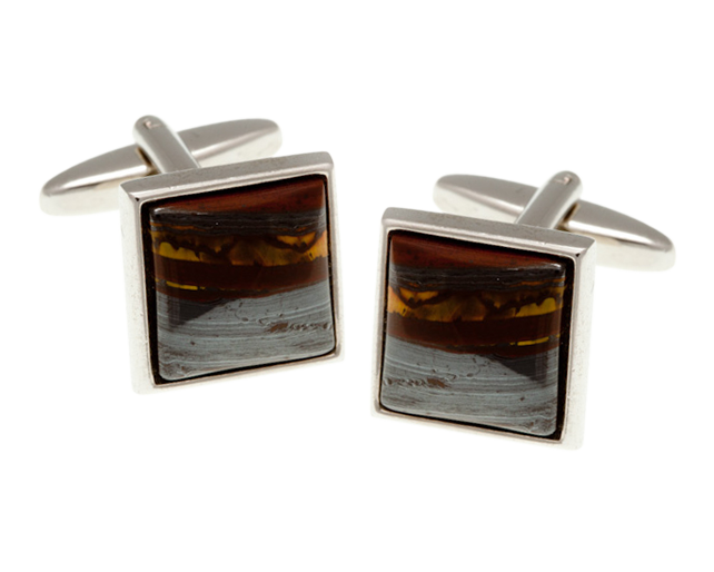 Square Tiger Iron Cufflinks