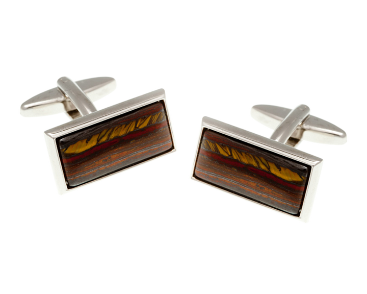 Oblong Tiger Iron Cufflinks