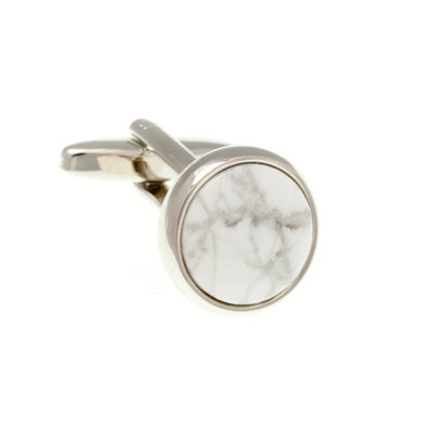 Round Cabochon Real Howlite Black White Marble Effect Semi Precious Stone Cufflinks - by Elizabeth Parker England