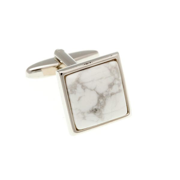 Square Cabochon Howlite Black White Marble Effect Semi Precious Stone Cufflinks by Elizabeth Parker England